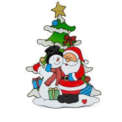 Vetrofania natalizia Babbo Natale con pupazzo di neve e abete, , large