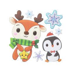 Vetrofanie natalizie in rilievo, renna e pinguino, , large