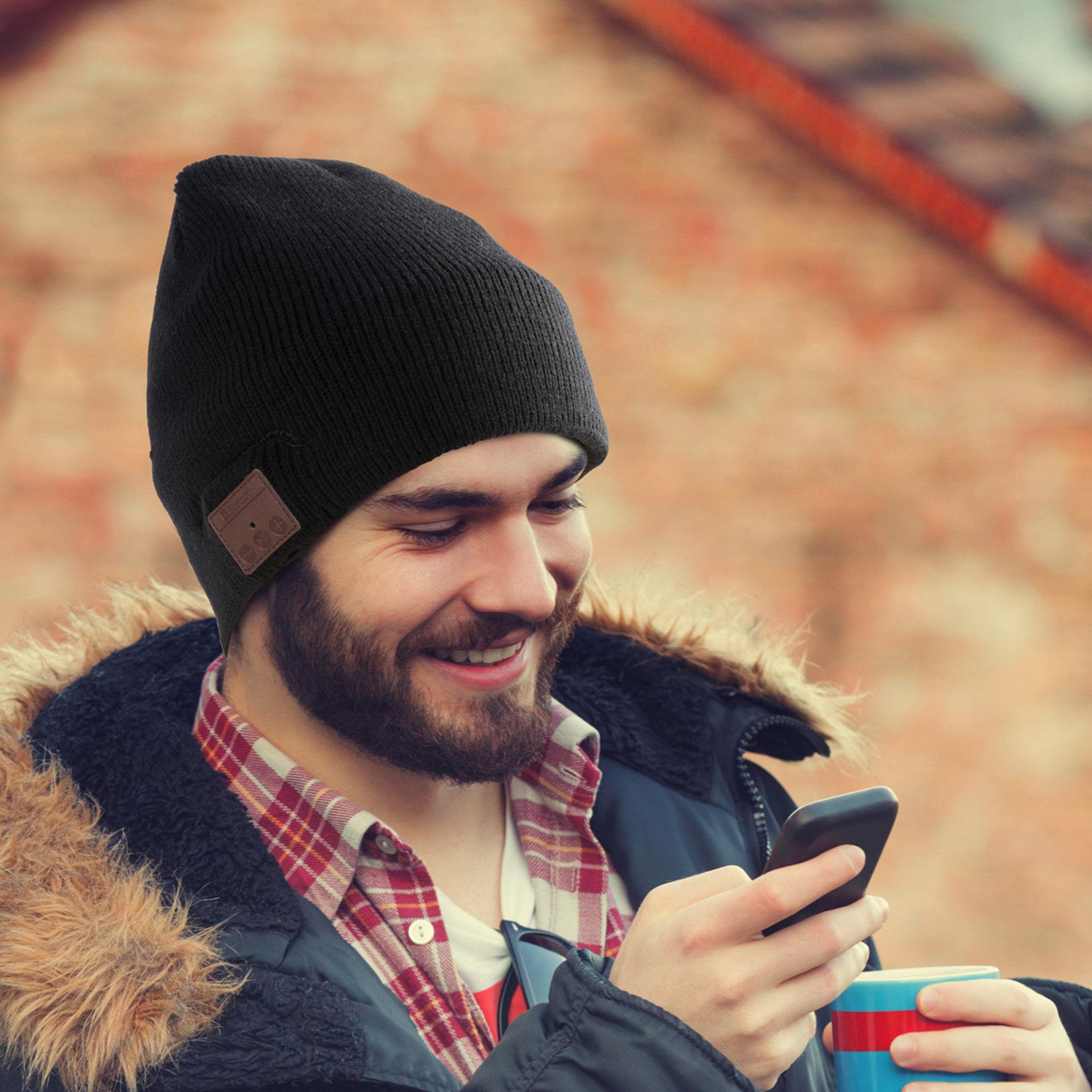 Bonnet avec écouteurs bluetooth, , large