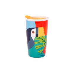 Bicchiere americano in ceramica con coperchio, , large