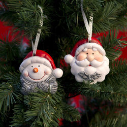Set Babbo Natale e pupazzo di neve per albero, , large