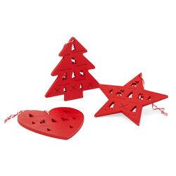 Set 3 decorazioni in legno Set di 3 pz - Stella/Albero/Cuore Rosso, rosso, large