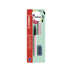 Penna Roller - STABILO beCrazy! Pastel in Rosa - 3 Cartucce Blu incluse, , large