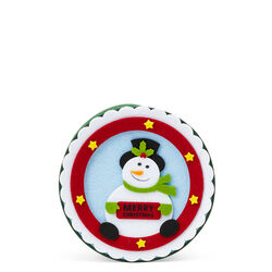 Scatola natalizia tonda in feltro Pupazzo di neve, , large