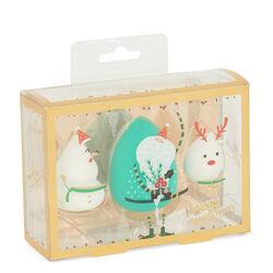 Spugnette per trucco natalizie - Set da 3 pz, colore bianco, bianco, large