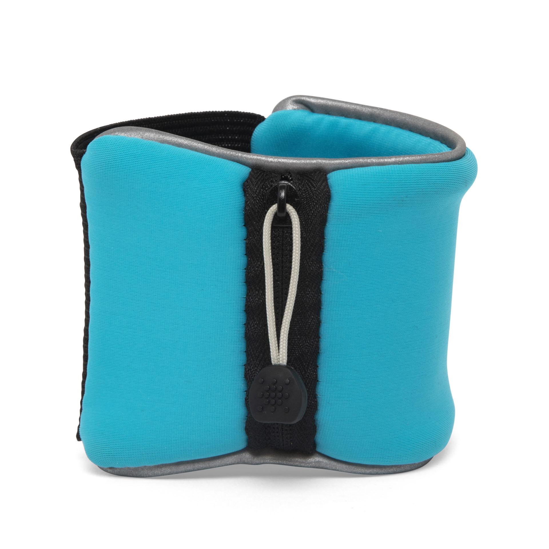 Bracelet éponge avec poche, bleu ciel, large