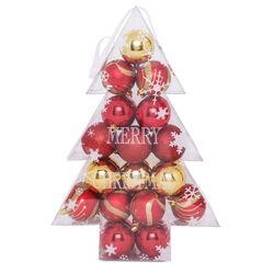 Box con 34 palline decorate per albero di Natale, , large