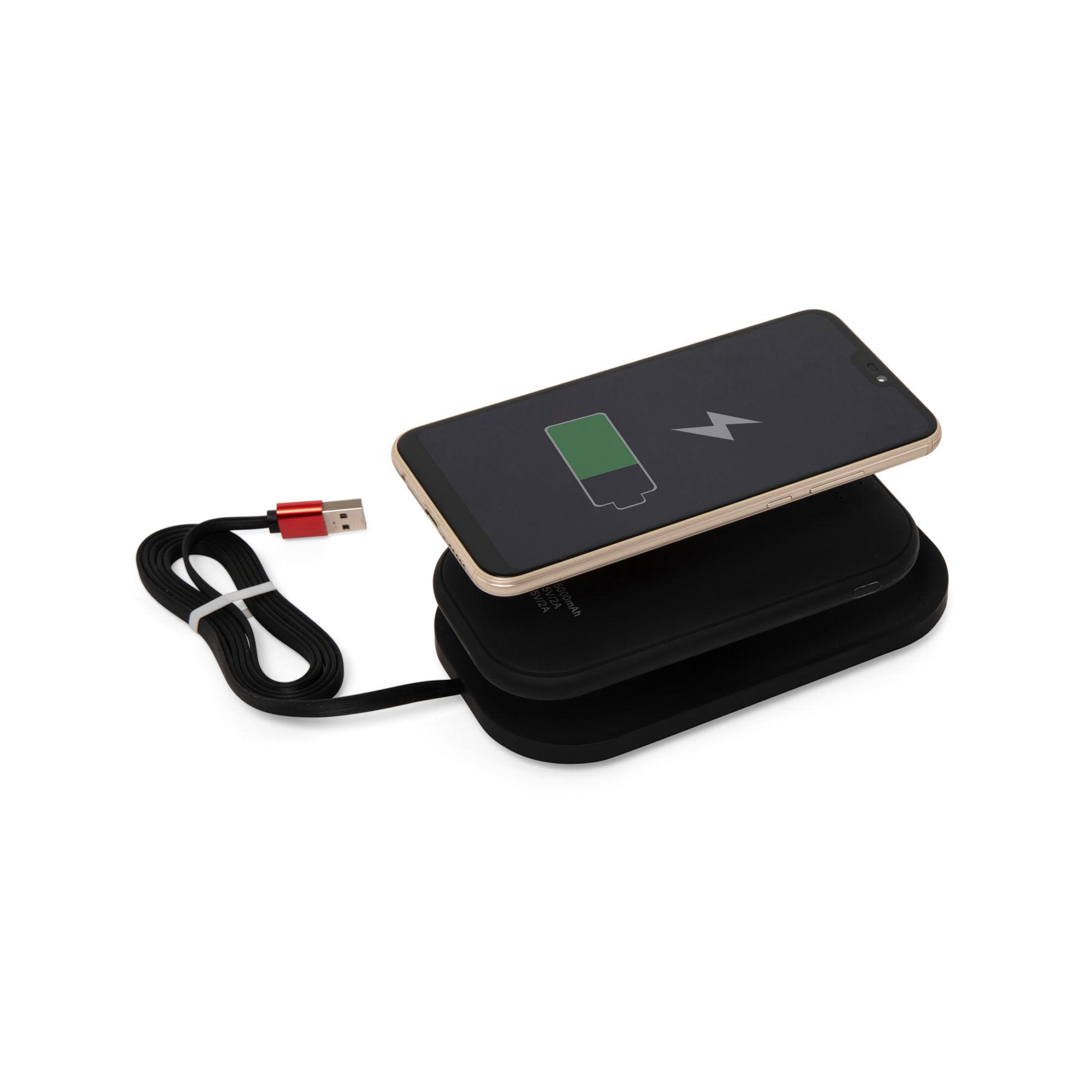 Batterie externe de 5000 mAh avec support sans fil et technologie Qi, noir, large