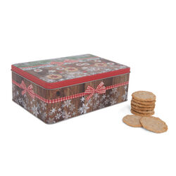 Scatola in latta natalizia per biscotti, , large