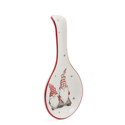 Poggiamestolo in ceramica con gnomi natalizi, , large