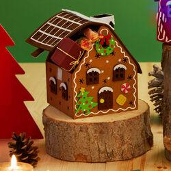 Casetta natalizia in feltro con luci, , large