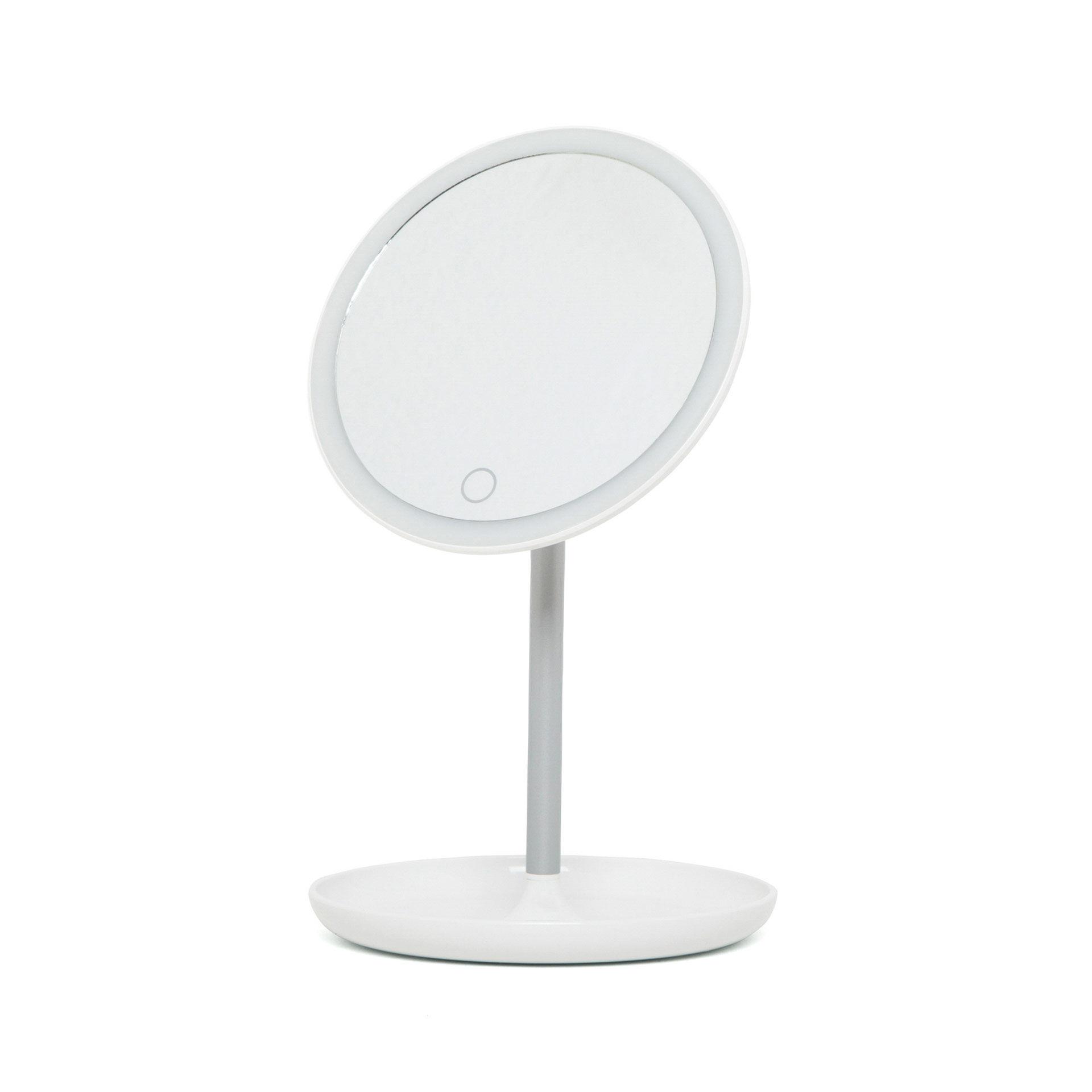Miroir avec cadre lumineux LED et base porte-bijoux - Rond, , large