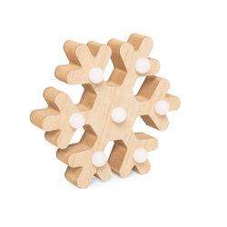 Fiocco di neve in legno con luci LED, , large