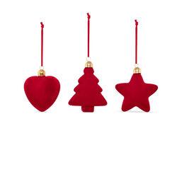 Decorazioni floccate set da 3 pz, rosso, rosso, large