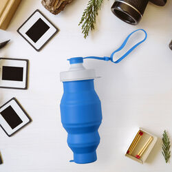 Bottiglia pieghevole in silicone 500 ml - colore blu, blu, large
