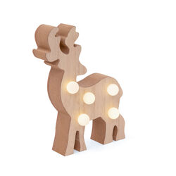 Renna in legno con luci LED, , large
