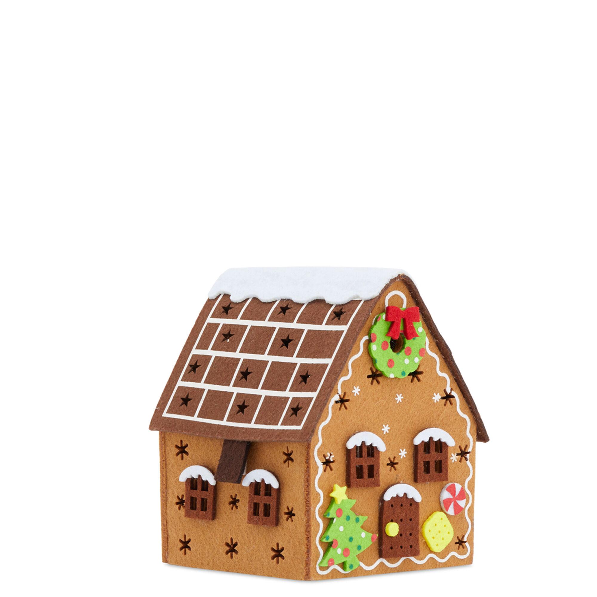 Petite maison de Noël illuminée en feutre, , large