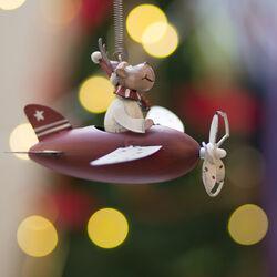 Aeroplano natalizio con molla da appendere Renna, , large