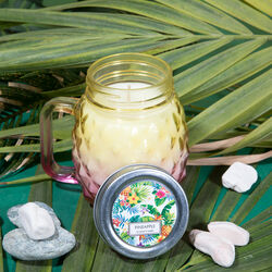 Vasetto ananas in vetro con candela - Piccolo, , large