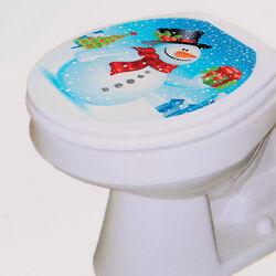 Decorazione adesiva wc pupazzo di neve, , large