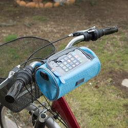 Borsa da bicicletta con porta smartphone colore azzurro, azzurro, large
