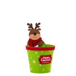 Portavaso natalizio in feltro, Renna, , large