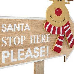 Cartello natalizio in legno Renna, , large