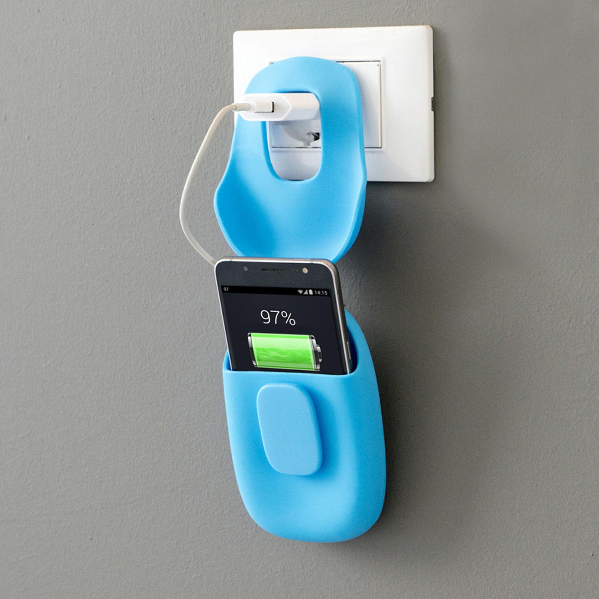 Organisateur de recharge pour téléphone portable bleu, , large