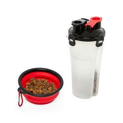 Contenitore acqua e cibo per cani e gatti con ciotola da viaggio, , large