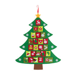 Calendario dell'avvento in feltro - Albero di Natale, , large