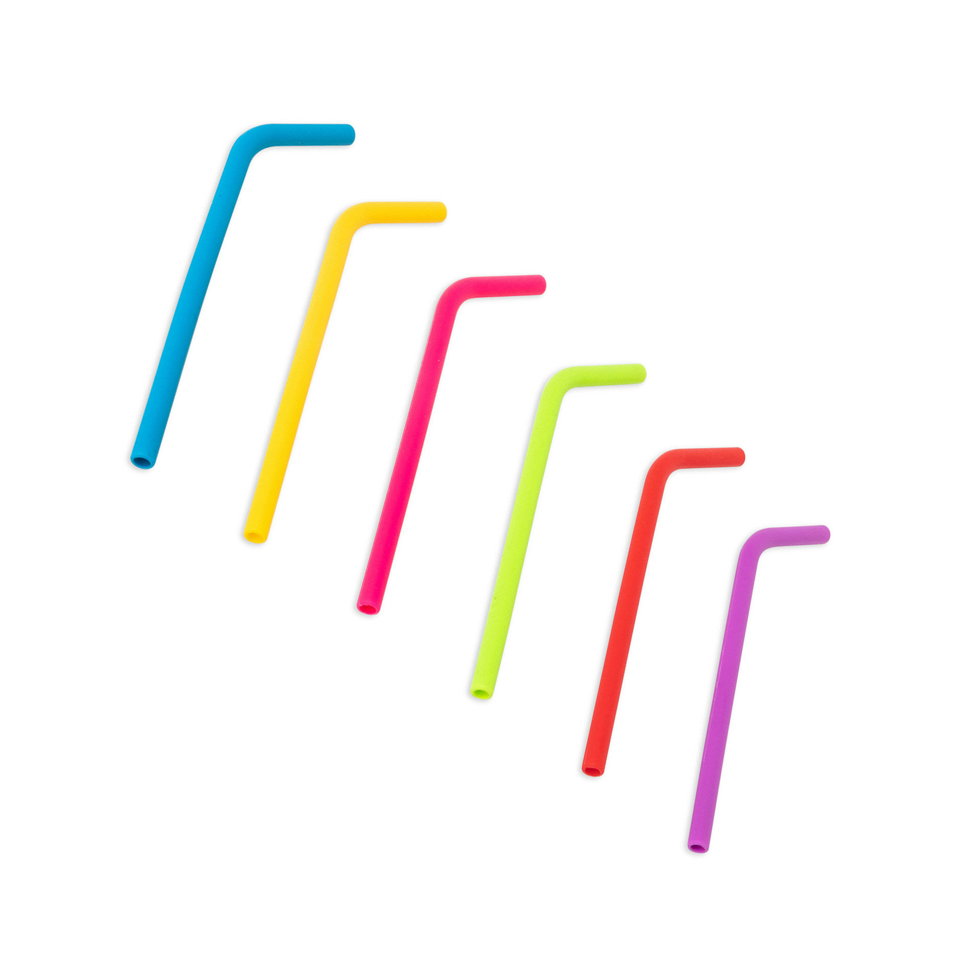 Pailles en silicone réutilisables - Lot de 6 pièces, , large