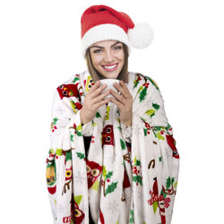 Coperta natalizia in pile con gufi per letto singolo, , large
