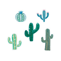 Set 5 toppe termoadesive cactus, , large