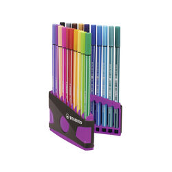 STABILO Pen 68 Colorparade - Astuccio Desk-Set da 20 antracite/rosa, , large