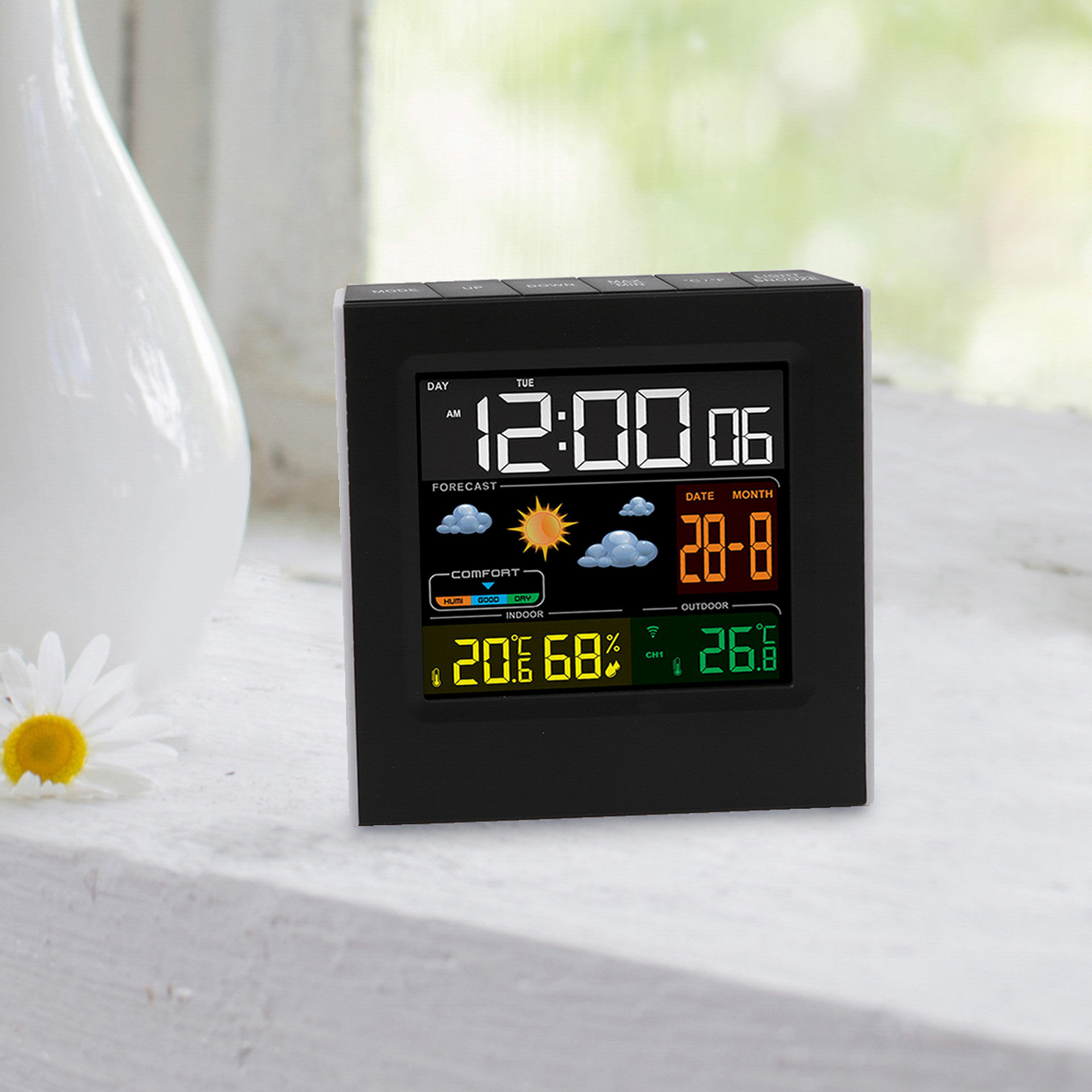 Station météo avec écran couleur et capteur externe, , large