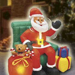 Babbo Natale su sofà con movimento, luci e suoni, , large