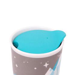 Bicchiere americano in ceramica con coperchio - Orso Polare, , large