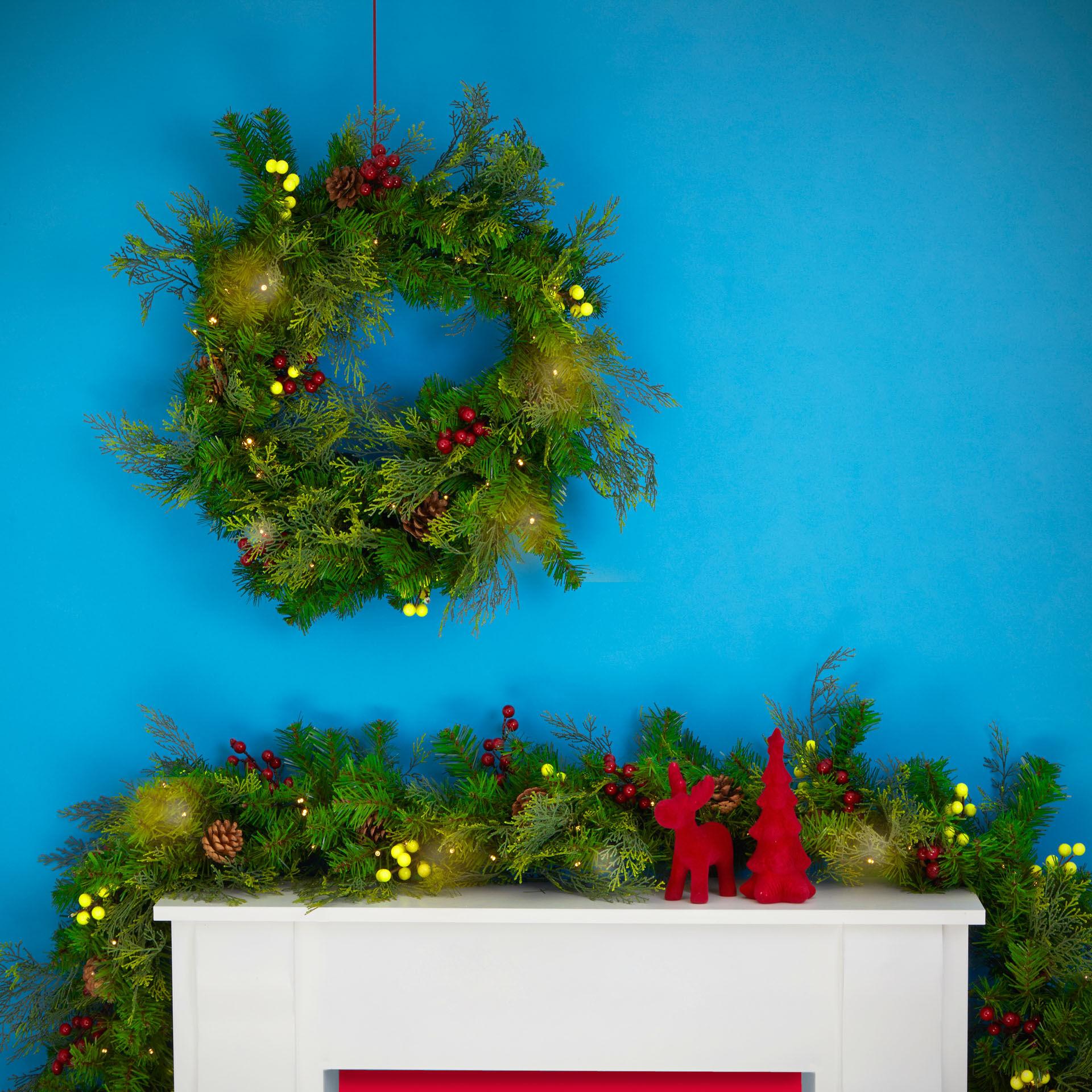 Couronne de Noël avec lumières et décorations, , large