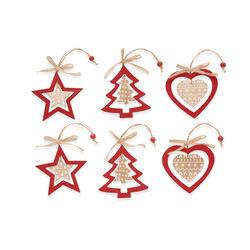 Decorazioni natalizie in legno - set da 6 pz - Rosso, rosso, large