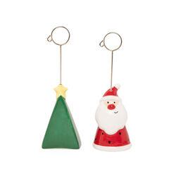 Coppia di segnaposto albero e Babbo Natale, , large