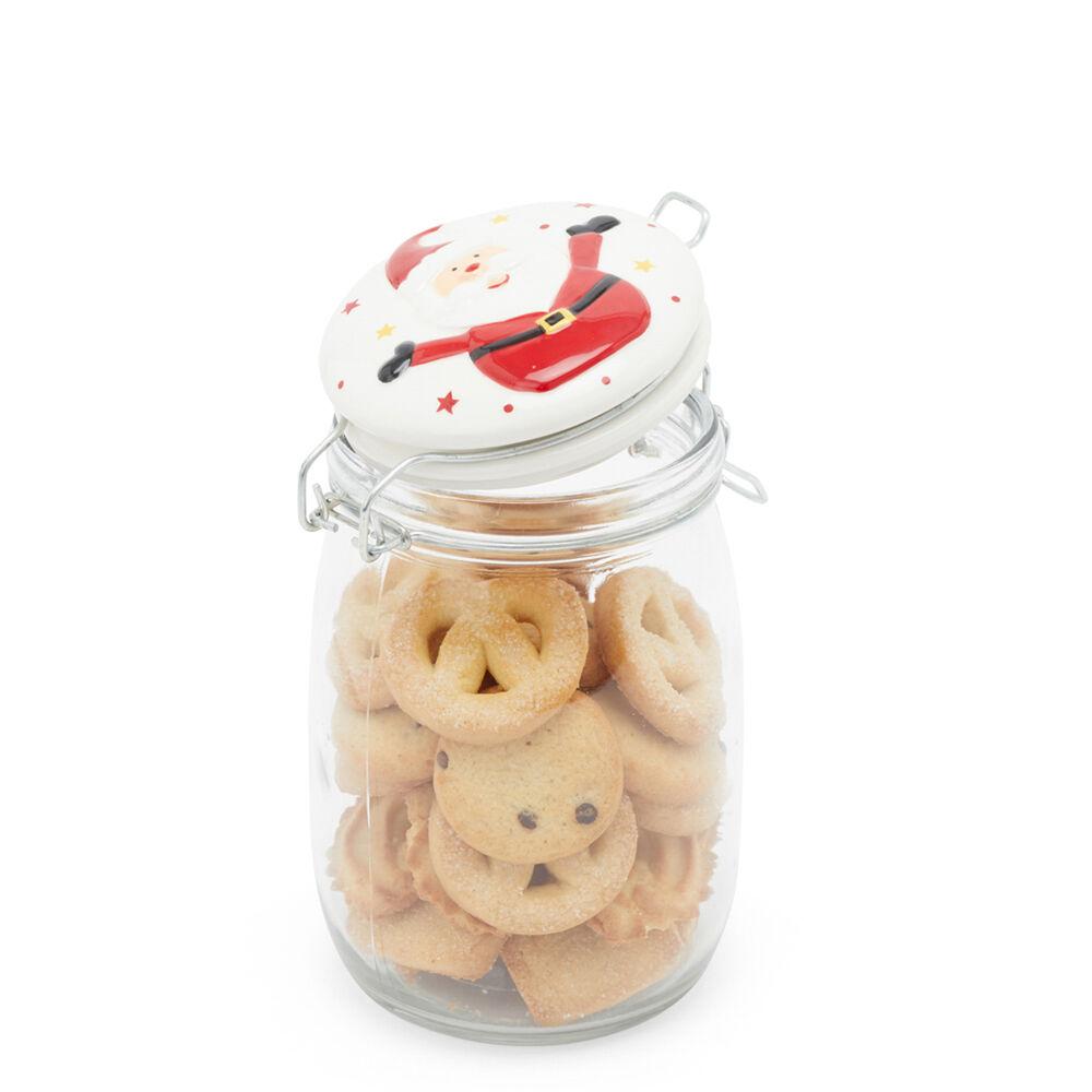 Bocal en verre avec couvercle décoré - Père Noël, , large