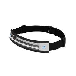 Cintura da running con led e porta oggetti, colore nero, nero, large