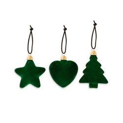 Decorazioni floccate set da 3 pz, verde, verde, large