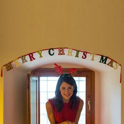 Ghirlanda natalizia in feltro Merry Christmas, , large