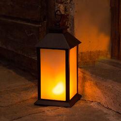 Lanterna con luce effetto fiamma 35 cm, , large