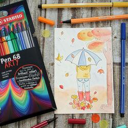 STABILO Pen 68 - ARTY - Astuccio da 18 con appendino - 18 colori assortiti, , large