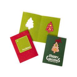 Biglietti natalizi in feltro set da 3 pz - Abete, , large