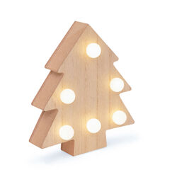 Abete in legno con luci LED, , large