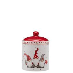 Barattolo con gnomi natalizi portabiscotti con coperchio, , large