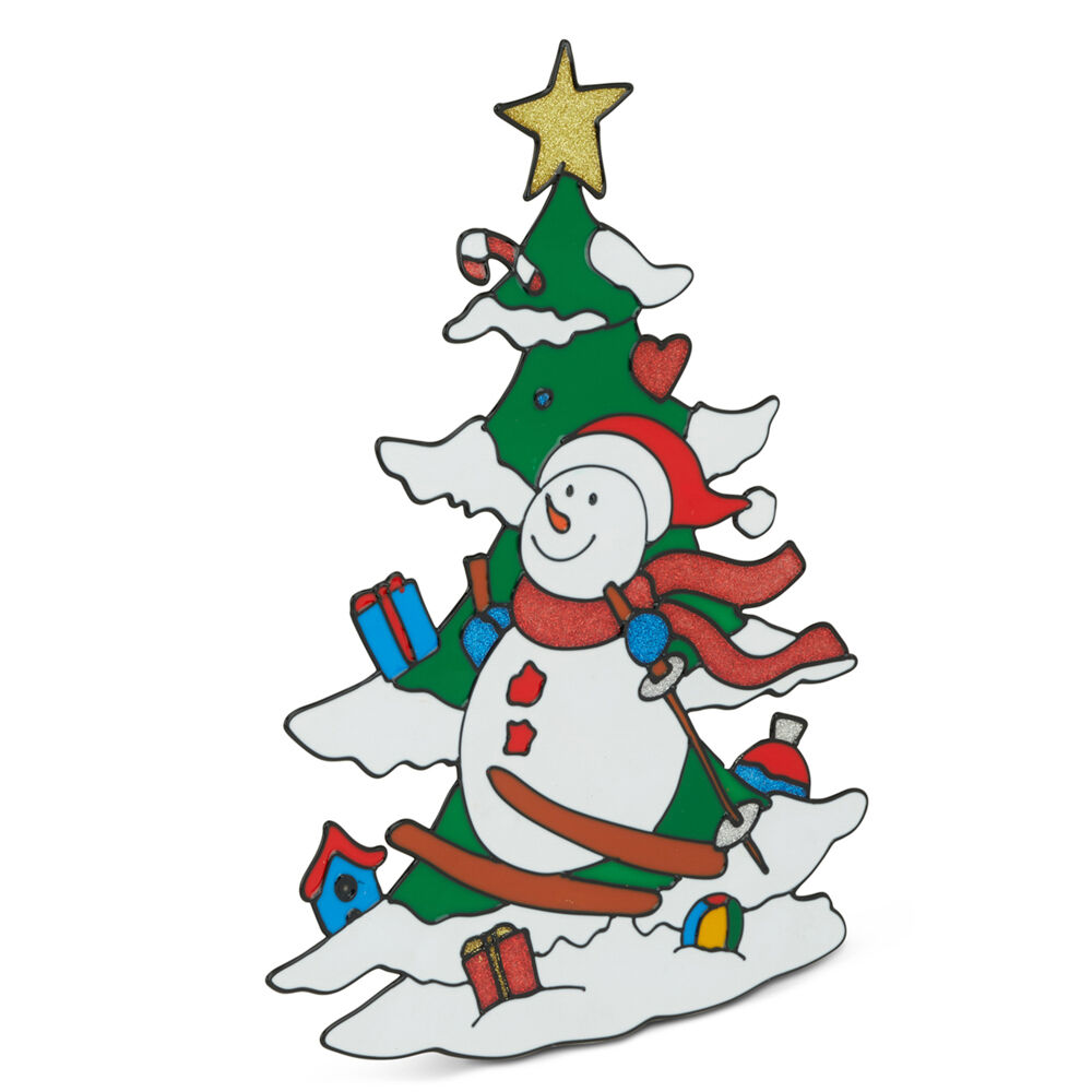 Vitrophanie de Noël - Bonhomme de neige et sapin, , large